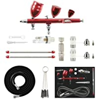 ABEST New Professional 0.2mm\0.3mm\0.5mm Dual Action Airbrush Spray Paint Gun Kit with Three Different Capacity Cups(2CC…