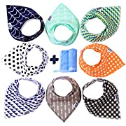 Baby Bandana Drool Bibs For Boys + Bamboo Washcloth by Small Explorer – 8 Pack Unisex Baby Bibs for Teething, Drooling - 100% Organic Cotton, Super Soft, Absorbent and Hypoallergic Gift Set