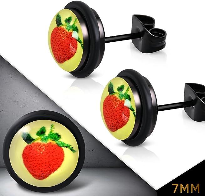 Stainless Steel 2-tone Matte Red Circle Stud Earrings Pair 7mm - LEB570