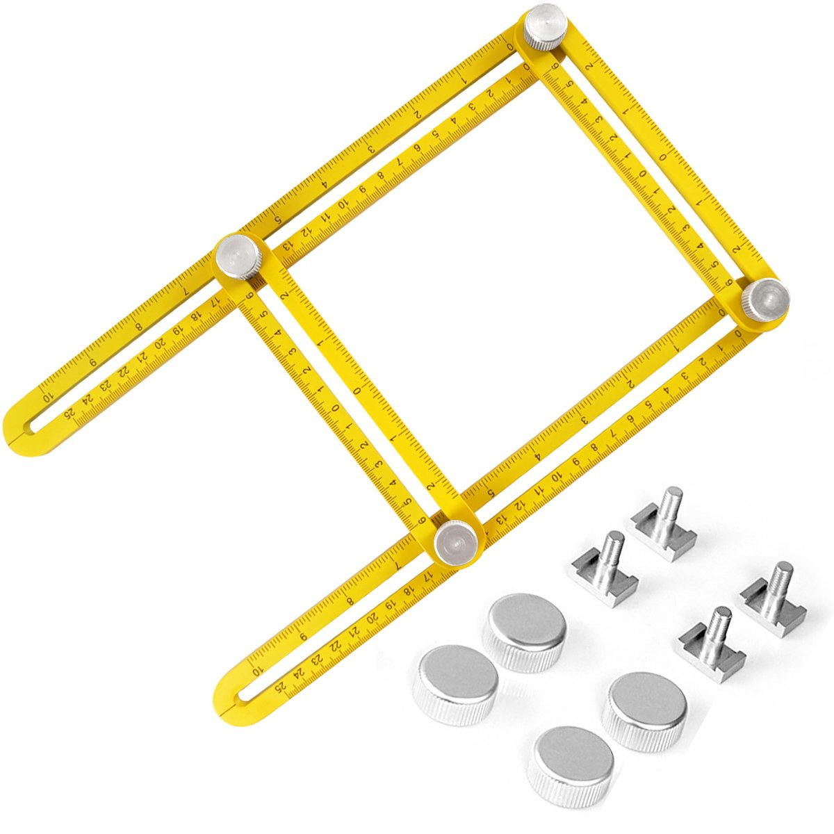 Upgraded Angleizer Template Tool, Haobuy Multi-Angle Measuring Ruler Measures All Angles and Forms for Builders, Handymen, Craftsmen, Weekend Warriors, DIY-ers and Engineers - Yellow