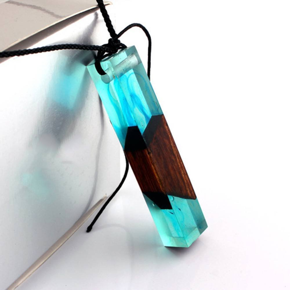 Phonphisai shop Fashion Handmade Resin Wood Necklaces Pendants Long Rope Wooden Jewelry Color blue