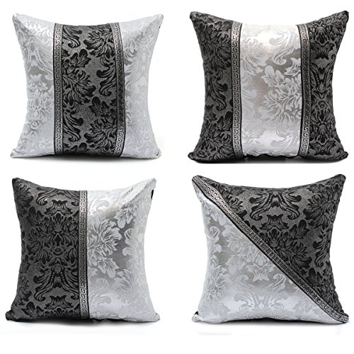 Pillow Cases - 4545cm Retro Style Square Black Silver Throw Pillow Sofa Imitation Leather Cushion Cover - Squarish Colored Metallic Rest Honest Negro Metal Feather Dark Silvery - 1PCs Ash Leather Sofa