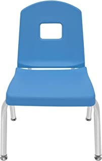 "product image for 12"" Creative Colors Split Bucket Chair in Bright Blue with Platinum Silver Frame and Self-Leveling Nickel Glide"