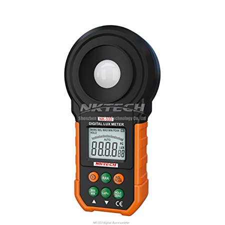 Amazon.com: NKTECH NK-333 Digital Lux Meter Luxmeter Illuminance LCD Auto Range 200000Lux 20000FC Light Tester Backlight Data Hold 2000 Counts Auto Power ...