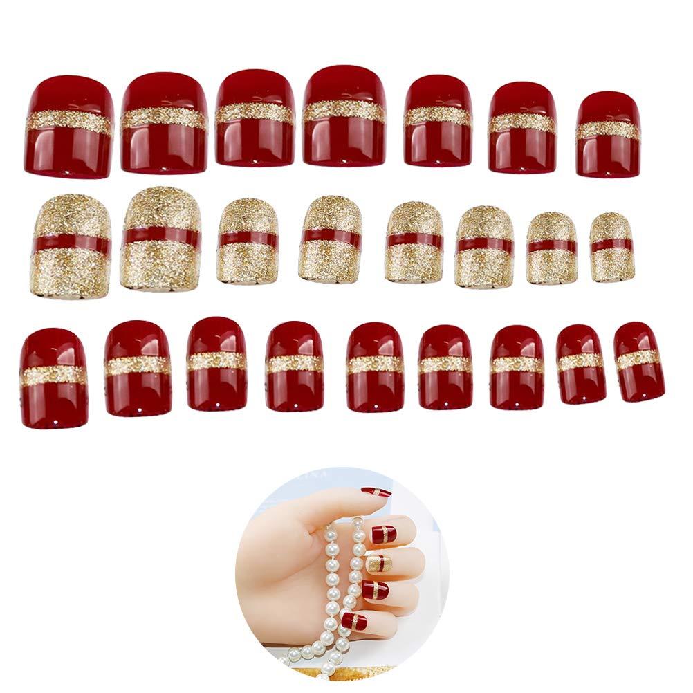 Frcolor Puntas de uñas Falsas de Navidad Cubierta Completa gradiente uñas postizas para uñas de uñas de Arte para niñas, Mujeres - 24pcs: Amazon.es: Hogar