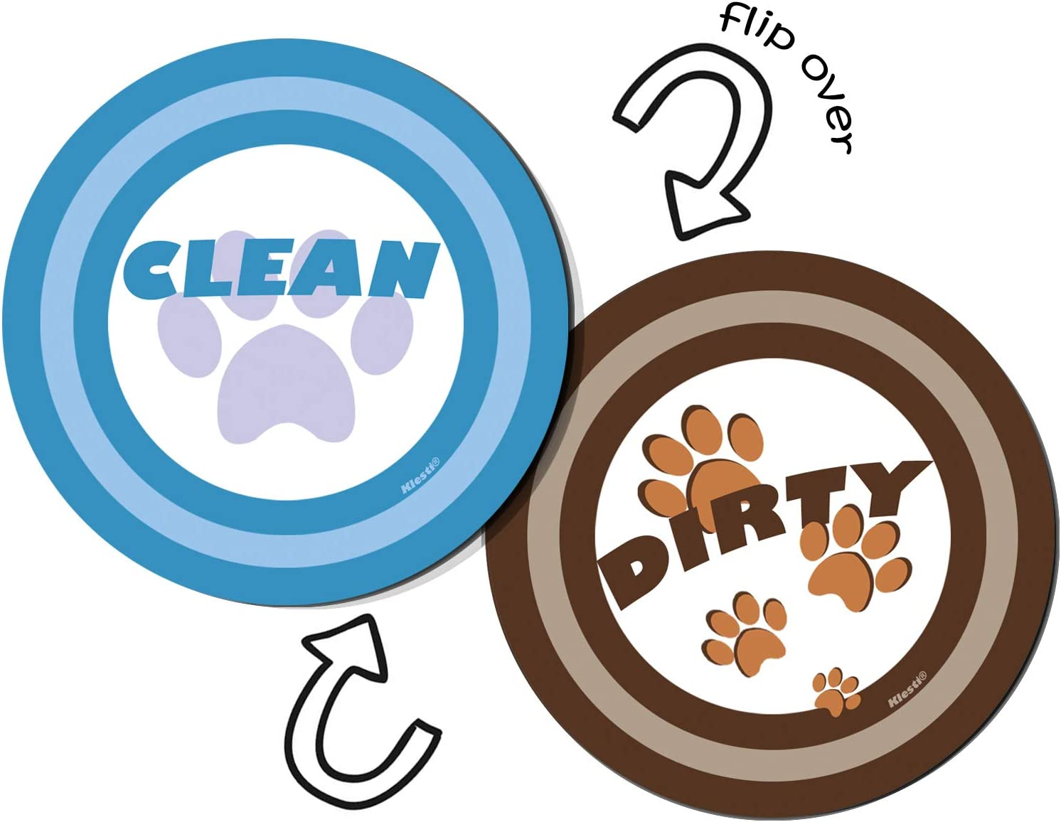 klesti Pet Paw Print Dishwasher Magnet Sticker,Double Sided Flip,Dirty Clean Dishwasher Magnet Sign with Bonus Metal Magnetic Sticker(3.15inch)