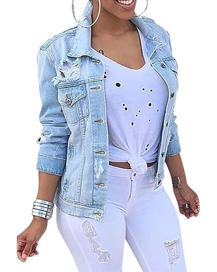 Damen Outwear Jeans Missmao Herbstmode Denim Jacket Jeansjacke Mantel Beiläufige DH29WYEI