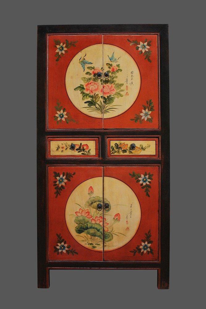 Schöner oranger, chinesischer Hochzeitsschrank | Asiatische Schränke | Asia Schrank | asisatische Möbel