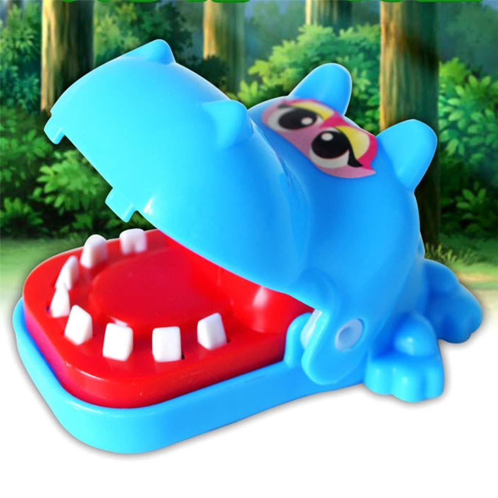 Mcree Hippo Biting Finger Game Funny Toys For Children Kid adult, Cute Funny Gifts Crocodile Mouth Dentist - 1 To 4 Players, Ages 4 and Up, In Random Colors Dazzling Sunshine