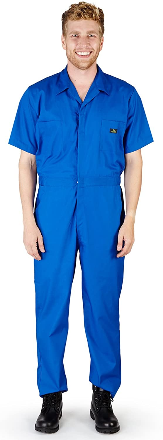 NATURAL WORKWEAR - Mens Short Sleeve Basic Blended Work Coverall Includes Big & Tall Sizes - Order 1 Size Bigger 399
