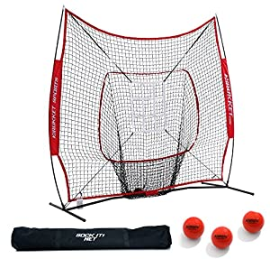 Rukket 7x7 Baseball & Softball Practice Hitting Net PRO Bundle w/ 3 Training Balls & Strike Zone (Lifetime Warranty)