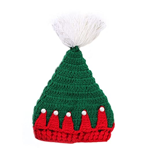 f04d191fea4 BIBITIME Christmas Tree Knit Hat Green Red Crochet Handmade Beanie Baby or  Adult (Adult Head
