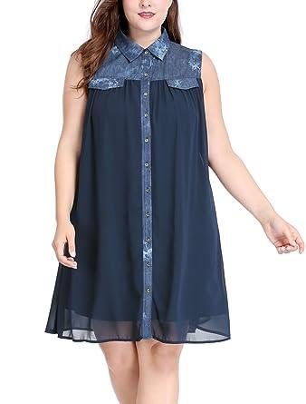 3c81688f1dee Agnes Orinda Women's Plus Size Chiffon Wash Denim Above Knee Shirt Dress 1X  Blue