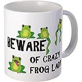 CafePress - Beware Of Crazy Frog Lady Mug - Unique Coffee Mug, Coffee Cup