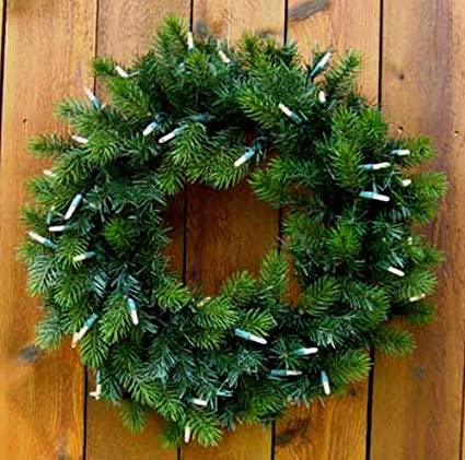 lighted battery operated christmas wreaths 24 inch 73177 - Battery Operated Christmas Wreath