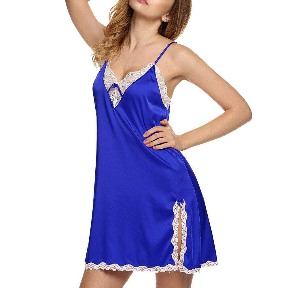 Corgie Sexy Lingerie Women V-Neck Sleepwear Satin Lace Chemise Babydoll Nightdress Blue
