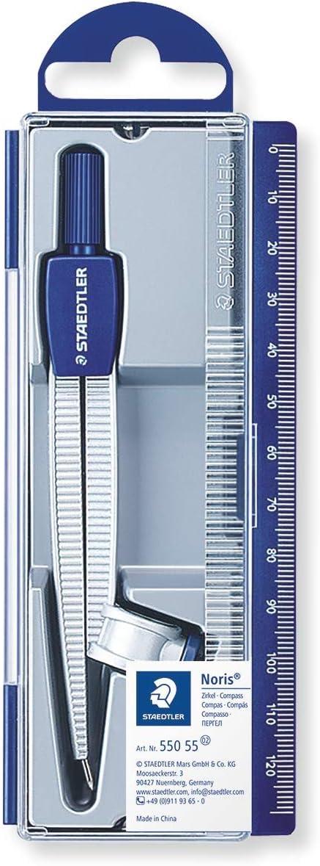 Staedtler NORIS CLUB 550 55. Compás escolar de precisión con obtusángulo y aguja roma. Estuche con adaptador universal.: Amazon.es: Oficina y papelería