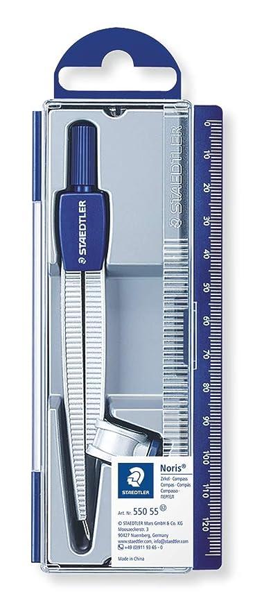 Staedtler NORIS CLUB 550 55. Compás escolar de precisión con obtusángulo y aguja roma. Estuche con adaptador universal.