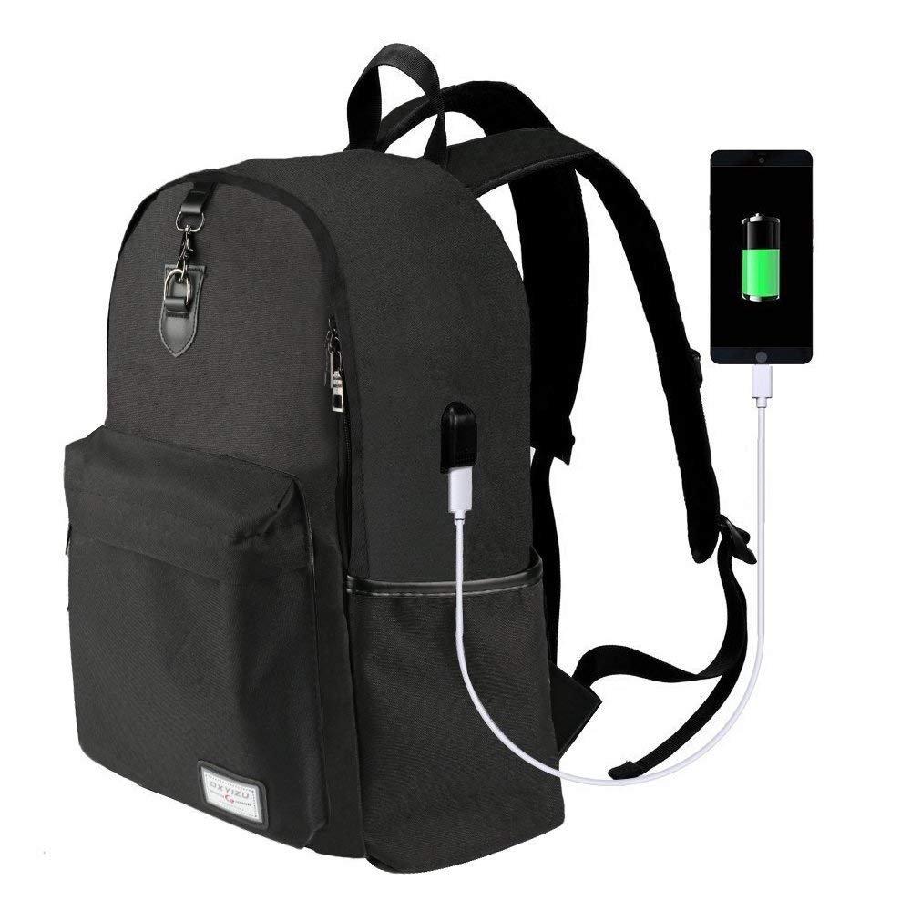 Laptop Backpack-ONSON Laptop/Notebook Backpack with USB Charging Port Water Resistant Backpack School Bookbag for College Travel Backpack,17 inch backpack-Black