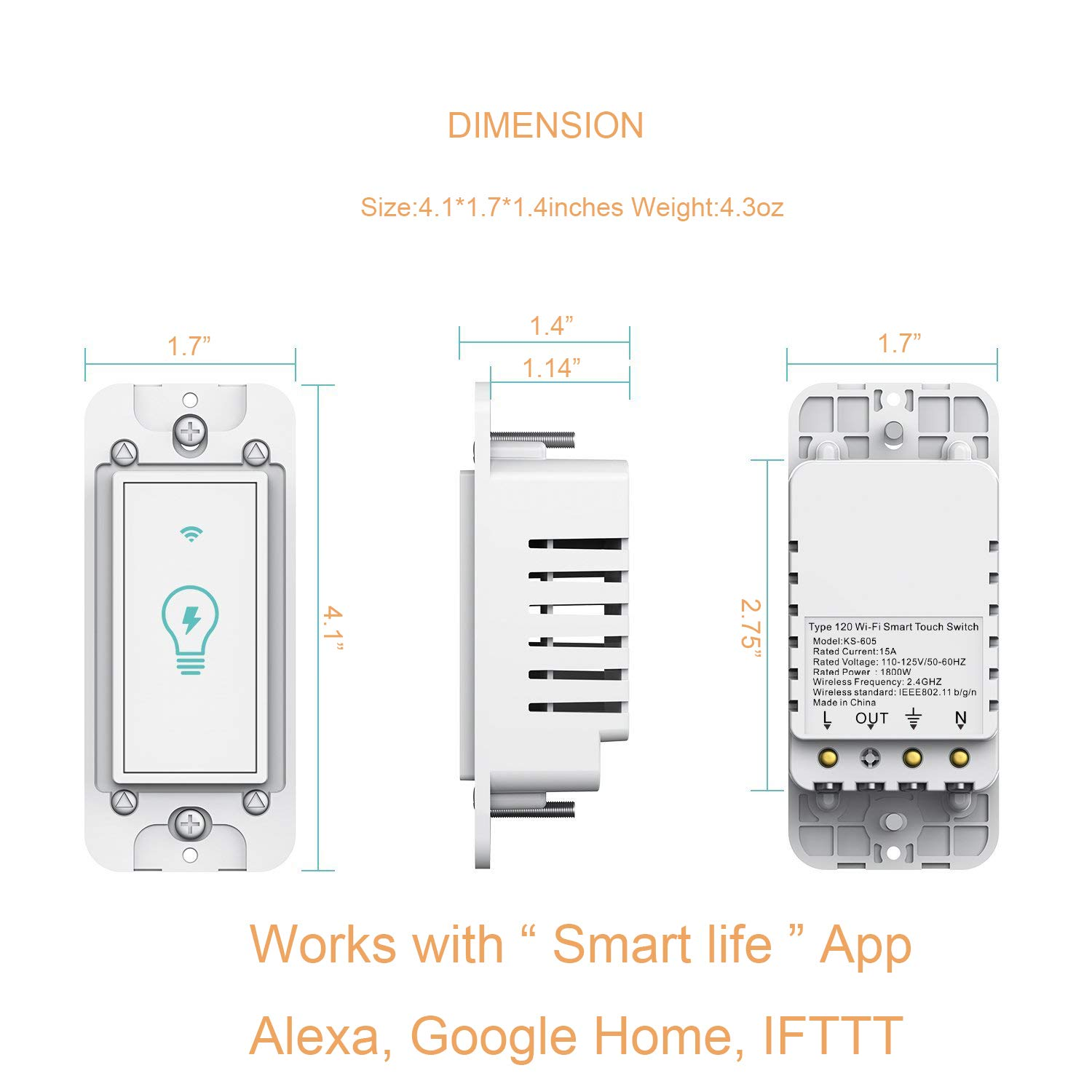 Smart Light Switch Compatible With Amazon Alexa And Google Home Wiring A Three Gang Box Ifttt Wifi In Wall Wireless Timing Function Suit For 1 2 3 4
