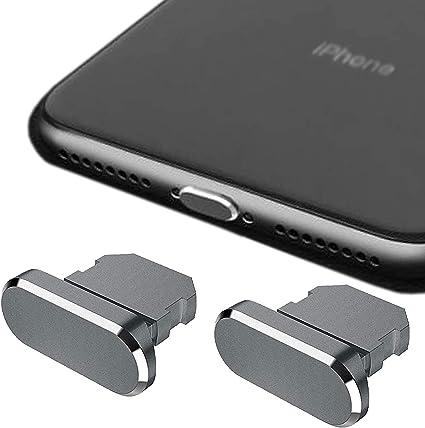 HOMEYU Enchufe Antipolvo de Aluminio de Primera Calidad para iPhone 12,11, X, XS, XR, 8, 7, Plus, MAX, Pro, [Paquete de 2] - Cubierta Jet para Puerto ...