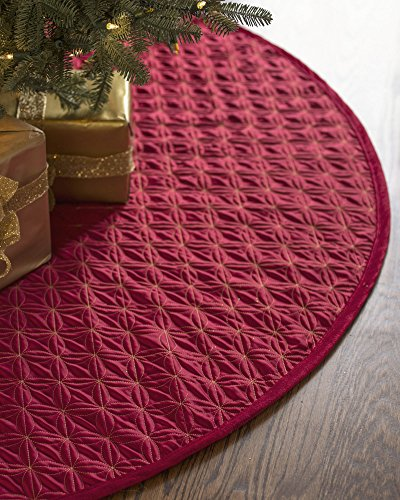 Balsam Hill Lancaster Wedding Ring Quilted Tree Skirt, 84 inches, Cardinal Red