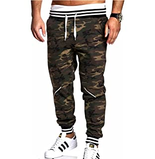 2b8d430216a RUEWEY Men Camouflage Athletic Elastic Drawstring Waist Sweatpants Joggers Cargo  Pants