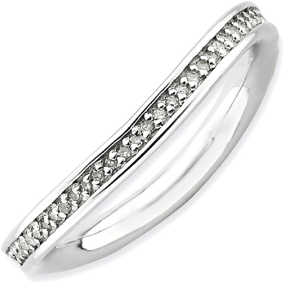 ICE CARATS 925 Sterling Silver Diamonds Wave Band Ring Size 10.00 Stackable Curved Fancy Fine Jewelry Gift Set For Women Heart