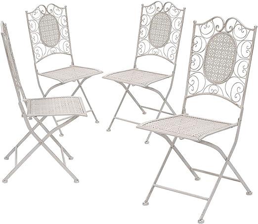 TessaHome Pack 4 Sillas de forja rústica + Cojines: Amazon.es: Jardín