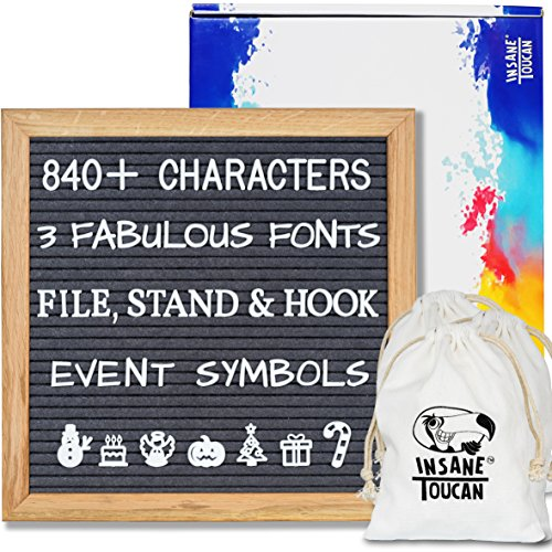 Gray Felt Letter Board with 3 Changeable Fonts, 840+ Characters, 10x10 inches, Solid Oak Frame, Emojis, 3 Storage Bags, Wall Mount Hook, Stand, Gift Box, File -