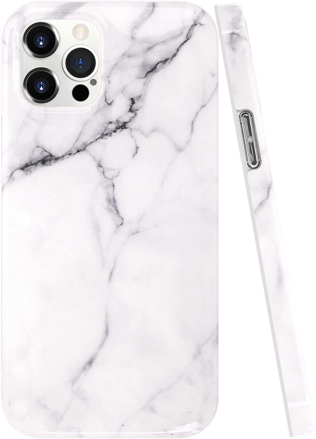 "A-Focus Case Compatible with iPhone 12 Pro Max Marble Case, Marble Crack Stone Rock Smooth IMD Design Series Protective Soft Slim TPU Cover Case for iPhone 2020 12 Pro Max 6.7"" Glossy Gray 2"