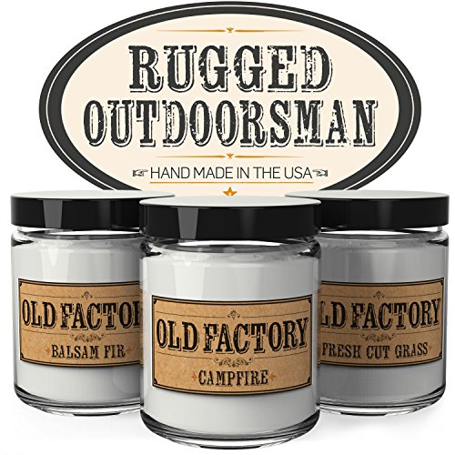 Scented Candles for Men - Rugged Outdoorsman - Set of 3: Balsam Fir, Campfire, Fresh Cut Grass - 3 x 4-Ounce Soy Candles - Each Votive Candle is Handmade in the USA with only the Best Fragrance (Balsam Home Fragrance)