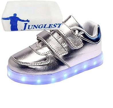 (Present:kleines Handtuch)Silber EU 32, Jungen Fl?¹gel mit LED JUNGLEST® mit Schuhe USB Bunte M?dchen Athletische Sneakers K