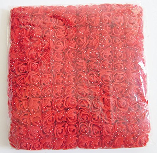 - Artfen Mini Fake Rose Flower Heads 144pcs Mini Artificial Roses DIY Wedding Flowers Accessories Make Bridal Hair Clips Headbands Dress (Bottom add Gauze) Red
