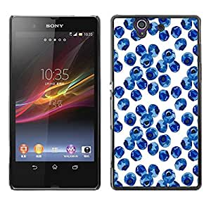 Be Good Phone Accessory // Dura Cáscara cubierta Protectora Caso Carcasa Funda de Protección para Sony Xperia Z L36H C6602 C6603 C6606 C6616 // Blueberry Watercolor Porcelain Blue