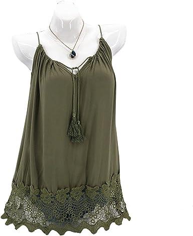 Lenfesh Camiseta con Tirantes de Gasa para Mujer Chaleco Blusa sin Mangas Elegante y Moda Camisa Sin Tirantes con borlas de Encaje Talla Grande (3XL, Verde): Amazon.es: Ropa y accesorios