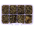 A Box(2000pcs/box) Kit with Antique Bronze Plated 100 Pcs Lobster Claw Clasps 12mm and 1900 Pcs 22 Gauge Open Jump Rings 4mm 5mm 6mm 7mm 8mm 10mm and Jump Ring Open Tool for Jewelry Making Findings