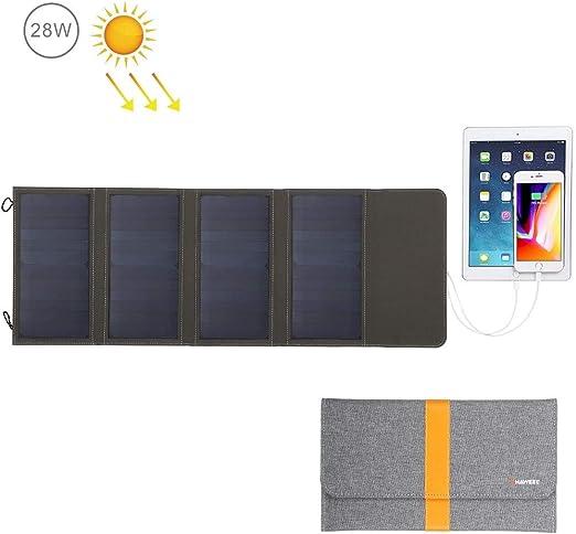 QWERDF Cargador Solar con Doble Puerto USB 28W, Portable Al Aire ...