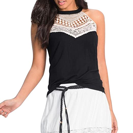 658005ff2b5339 BSGSH Women s High Neck Off Shoulder Sleeveless Floral Crochet Tunic Tank  Top (S