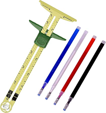 WXJ13 T-Shaped Sliding Gauge Sewing Measuring with 4 Colors Heat Erase Pens for Fabric, 5-in-1 Sewing Ruler Tool for Marking Button Holes, Seam Allowance Gauge