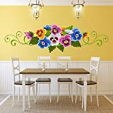 DeStudio Multicolor Flower, Multi Color, Wall Stickers (Wall Covering Area : 115cm X 32cm)-12316