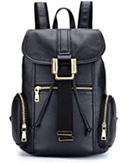 AMAZACER Women's Backpacks Leather Backpacks Large Capacity Casual Women's Bags Leather Travel Bags Bucket Bags Men's Bags