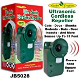 Ultra Sonic Cordless Repeller Safely Repels Various Animals Covers 5000 sq ft.