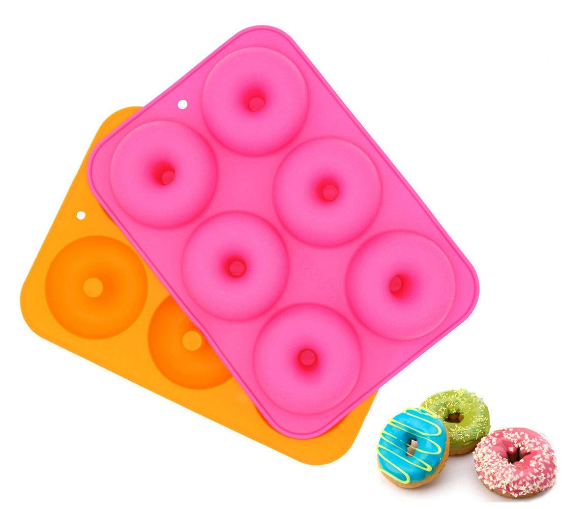 LuckyStar365 2PCS 6-Cavity Silicone Donut Pan, Non-Stick Donut Baking Pan, Donut Pan/Mold for Baking, BPA Free, Oven, Dishwasher, Microwave and Freezer Safe COMIN18JU077145