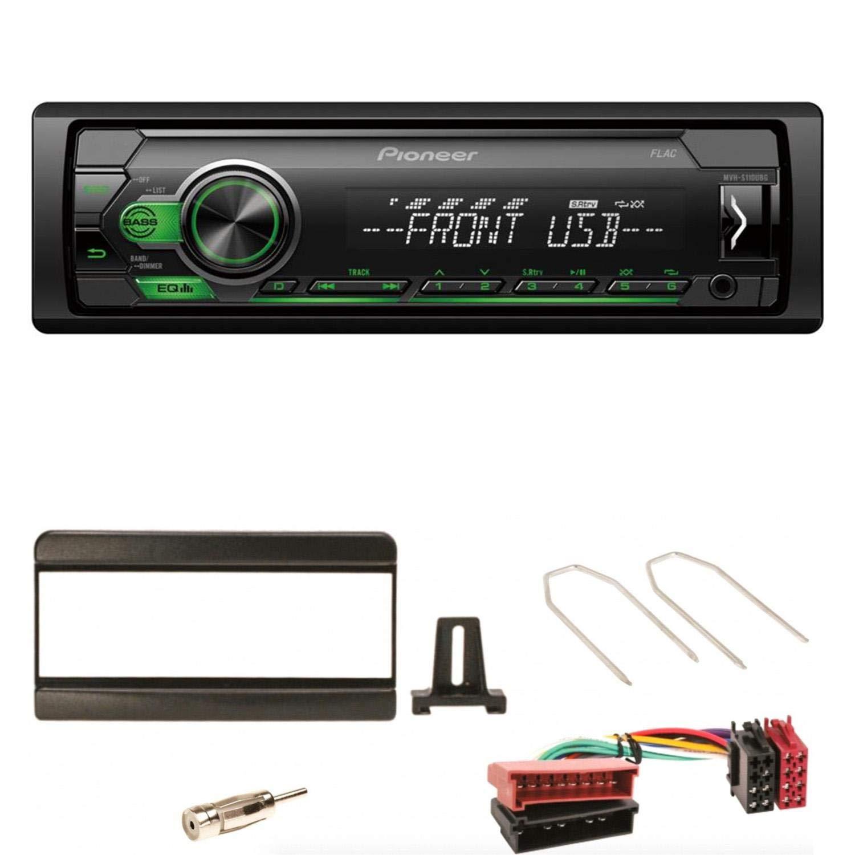 Pioneer MVH-S110UBG Autoradio MP3 WMA WAV USB AUX 1-DIN FLAC Autoradio Einbauset f/ür Focus Fiesta Puma Mondeo