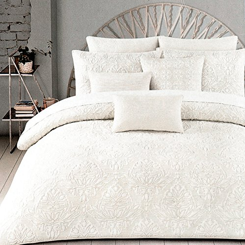 Tahari Home 100% Cotton Quilted Floral Damask 3pc Full Queen Duvet Cover Set Textured Stitching Embroidered Medallions (Ivory, Queen)