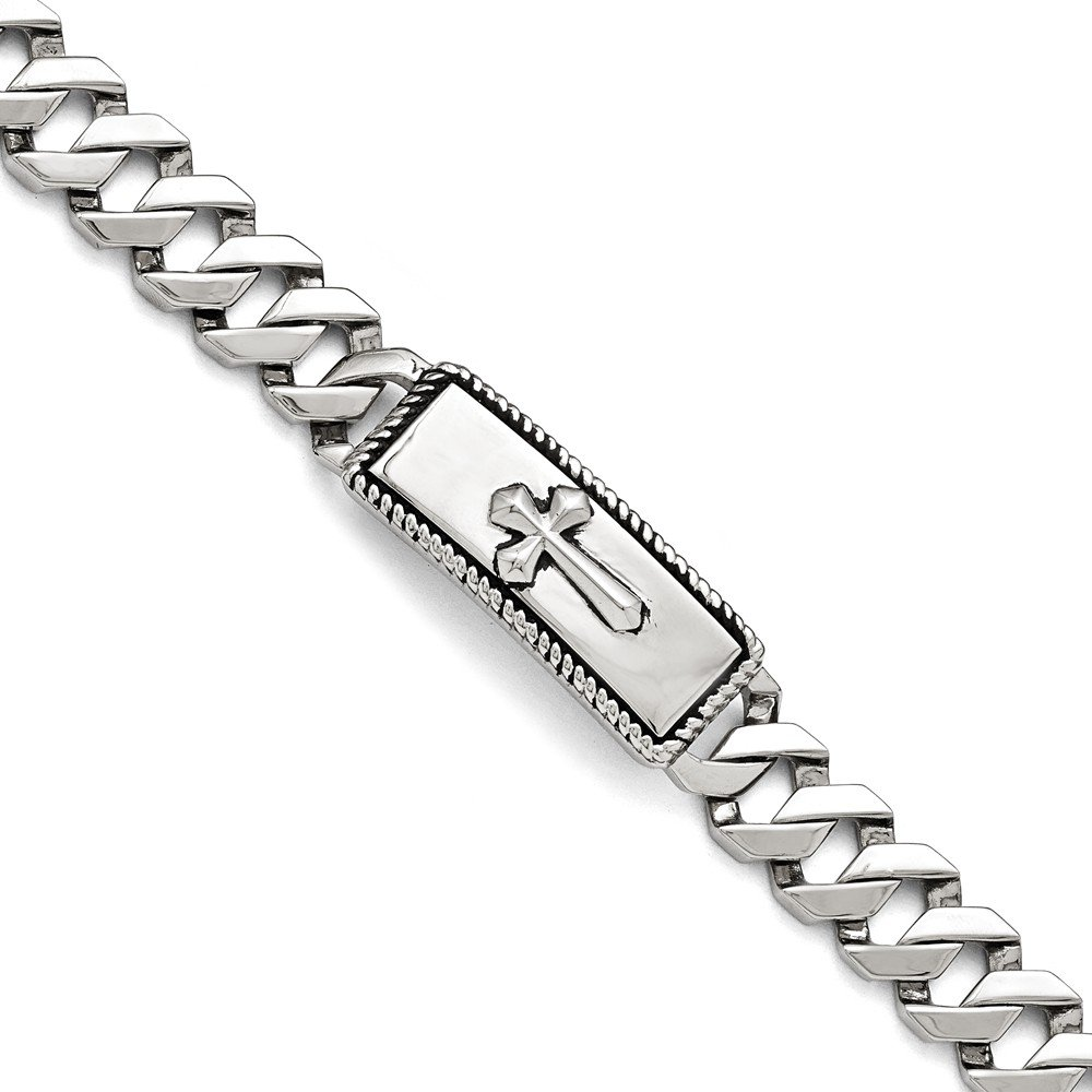 Stainless Steel Polished and Antiqued-Style Cross Bracelet (17mm)