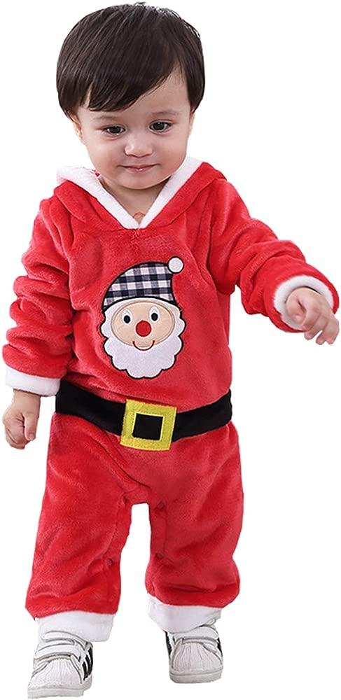 Happy Cherry - Mono Romper para Bebés de 3-18 Meses Disfraces de Navidad Papá Noel con Capucha Suave de Franela - Rojo - 3-18 Meses