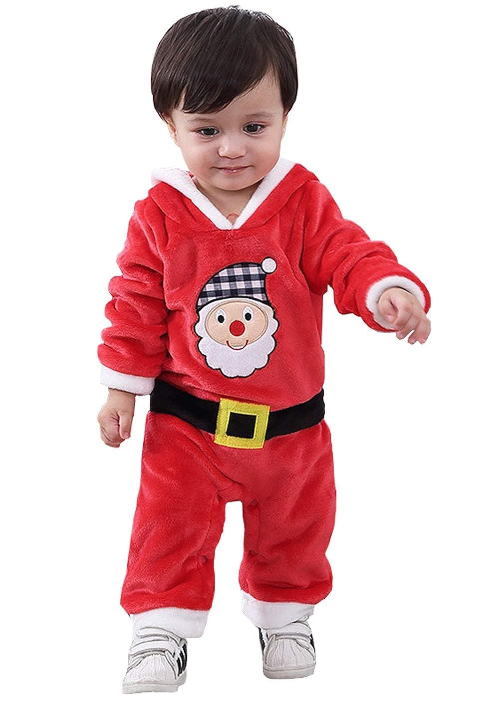cool elves - Mono Romper para Bebés de 3-18 Meses Disfraces de Navidad Papá Noel con Capucha Suave de Franela - Rojo - 3-18 Meses
