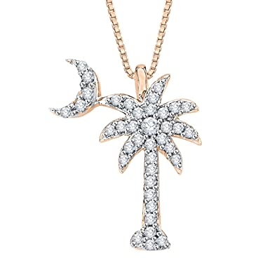 Amazon diamond palm tree with crescent moon pendant necklace in diamond palm tree with crescent moon pendant necklace in 10k rose gold 15 aloadofball Image collections